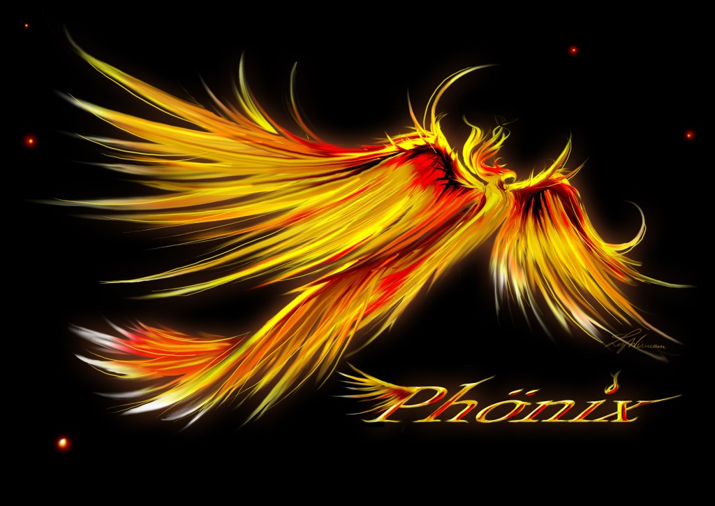 Phoenix mit Schrift